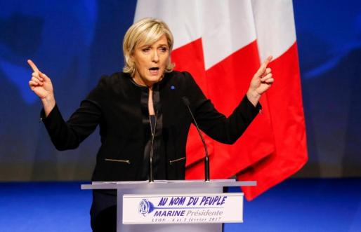 Marine Le Pen, FN political party leader and candidate for the French 2017 presidential election, attends the 2-day FN political rally to launch the presidential campaign in Lyon